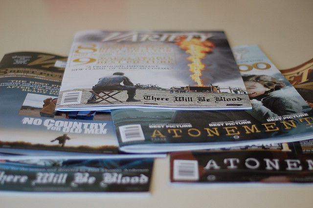 A stack of Variety magazines.