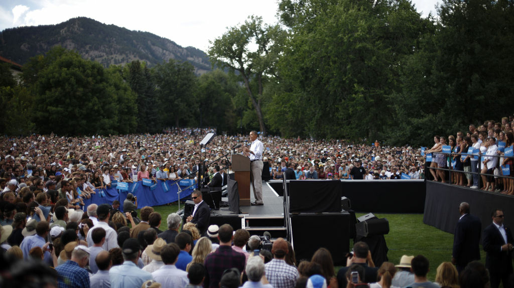 President Obama speaks during a campaign event at University of Colorado Boulder Sept. 2. He and his Republican challenger, Mitt Romney, will have their first debate at the University of Denver on Wednesday.