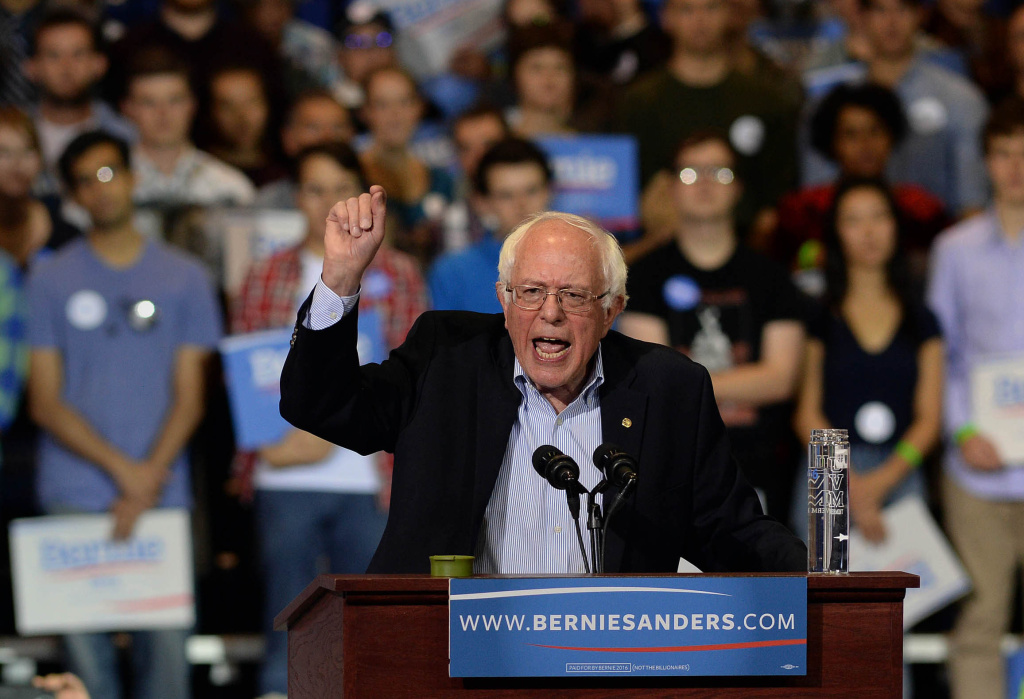 Democratic Presidential candidate Bernie Sanders speaks during a rally at the Boston Convention and Exhibition Center.