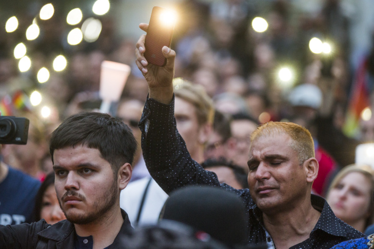 Thousands attend a vigil on Monday, June 13, 2016 at Los Angeles City Hall memorializing those who died in Saturday's attack in Orlando.