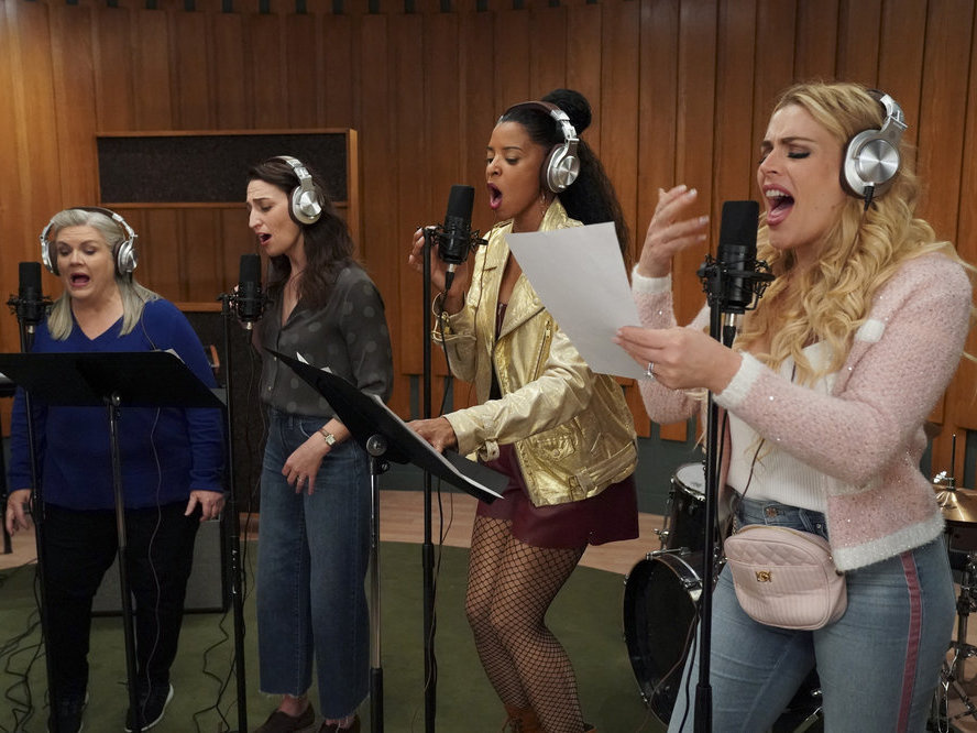 The ladies of <em>Girls5eva</em>: Gloria (Paula Pell), Dawn (Sara Bareilles), Wickie (Renée Elise Goldsberry), and Summer (Busy Philipps).