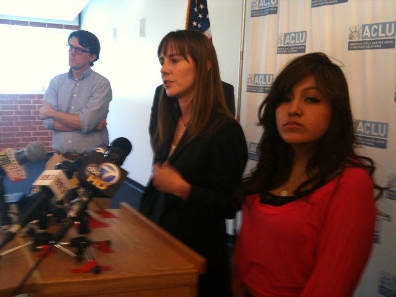 Isaura Garcia, right, stands with her attorney Jennie Pasquarella of the American Civil Liberties Union.