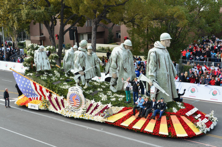The Department of Defense 60th Anniversary of the Korean War Commemoration Committee float participates in the 124th Tournamernt of Roses Parade on January 1, 2013 in Pasadena, California.