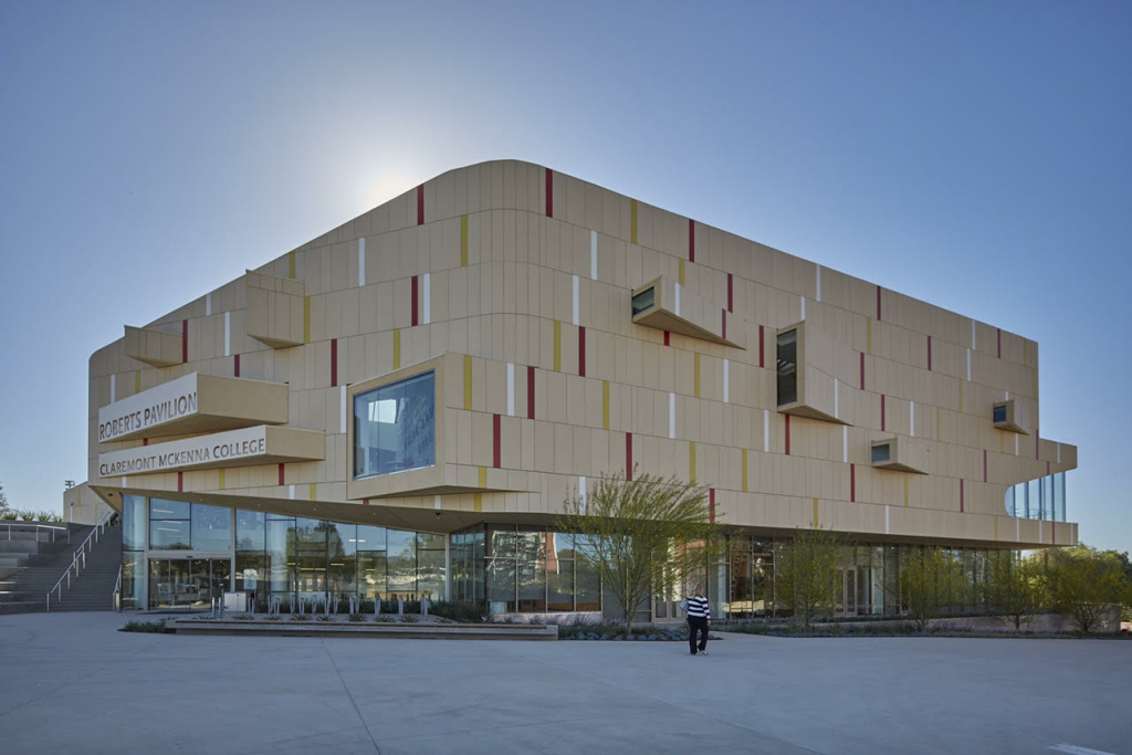 The exterior of the Roberts Pavilion at Claremont McKenna College, which officially opens in a few months.
