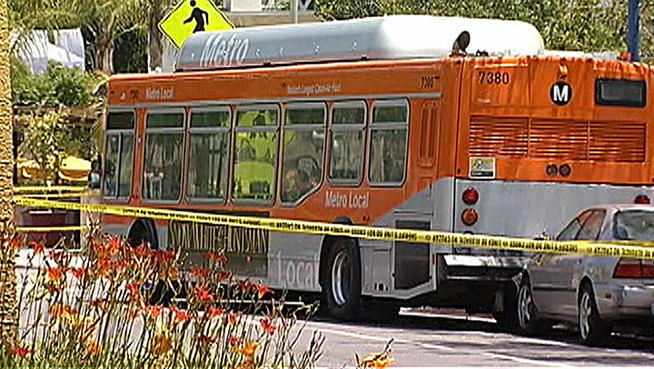 The scene in West Hollywood on Sunday after a bus driver was shot by a passenger. On Monday, the Los Angeles County Sheriff's Department said Anthony Craig Chambers, 41, was arrested on suspicion of murder.