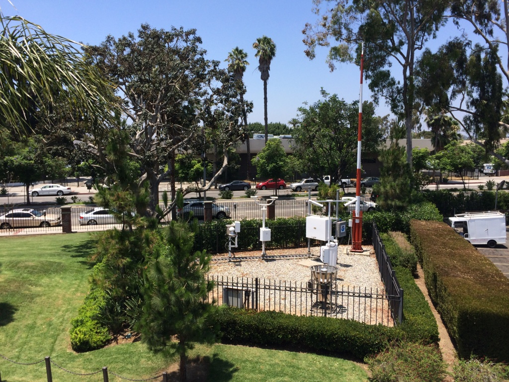 The weather station on the University of Southern California campus provides rainfall data for downtown Los Angeles. The past two-year stretch has seen the least amount of rainfall since record keeping began in 1877.