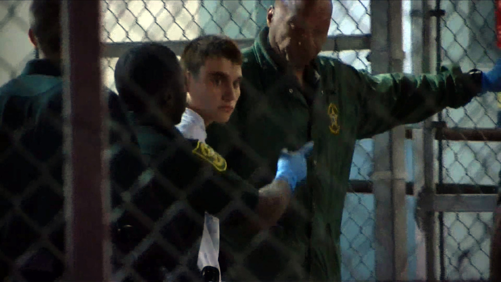 This video screen grab image shows shooting suspect Nikolas Cruz on February 15, 2018 at Broward County Jail in Ft. Lauderdale, Florida.