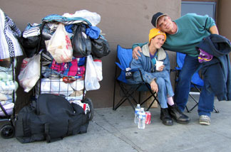 Homeless couple Ron Knoblock and his girlfriend.