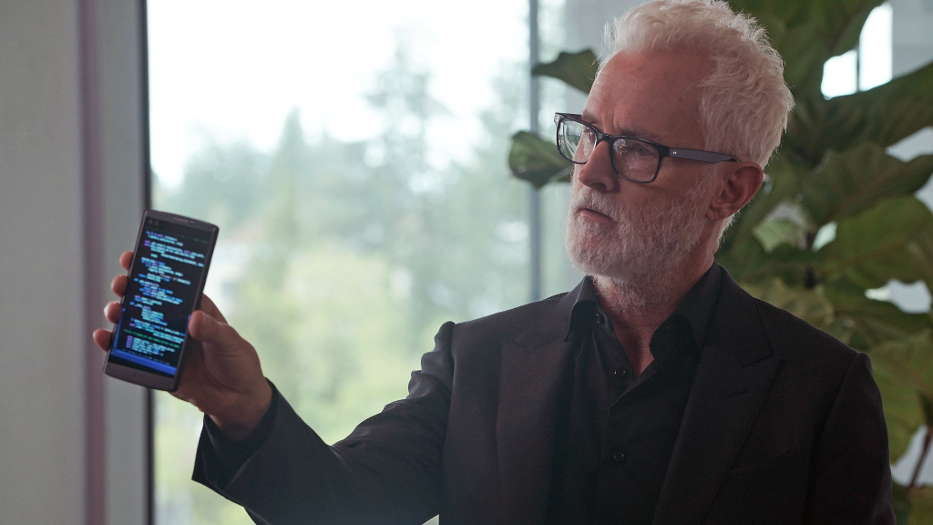 Tech mogul Paul LeBlanc (John Slattery) sounds the alarm in FOX's <em>NeXt.</em>