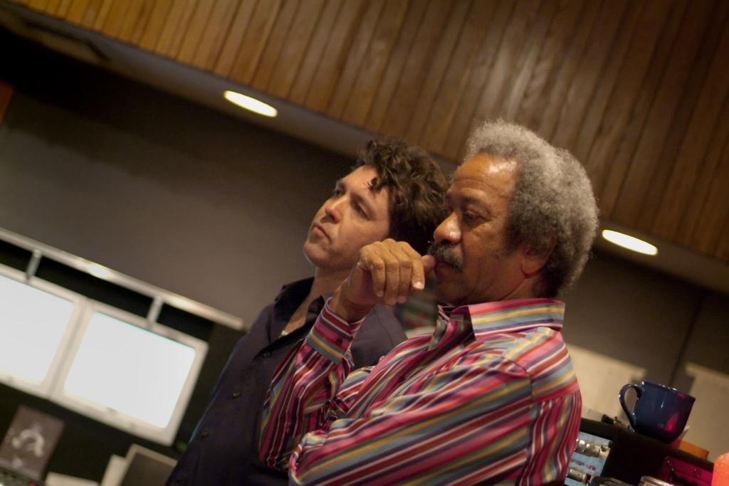 Producer Joe Henry, left, and New Orleans music legend Allen Toussaint.