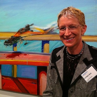 Victoria Price, daughter of Vincent Price, at VP Art Museum at ELAC, with Almaraz car crash painting