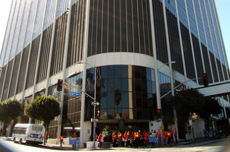 Protesters gather in front of the LAUSD headquarters on South Beaudry Avenue in Los Angeles, Calif. File photo.