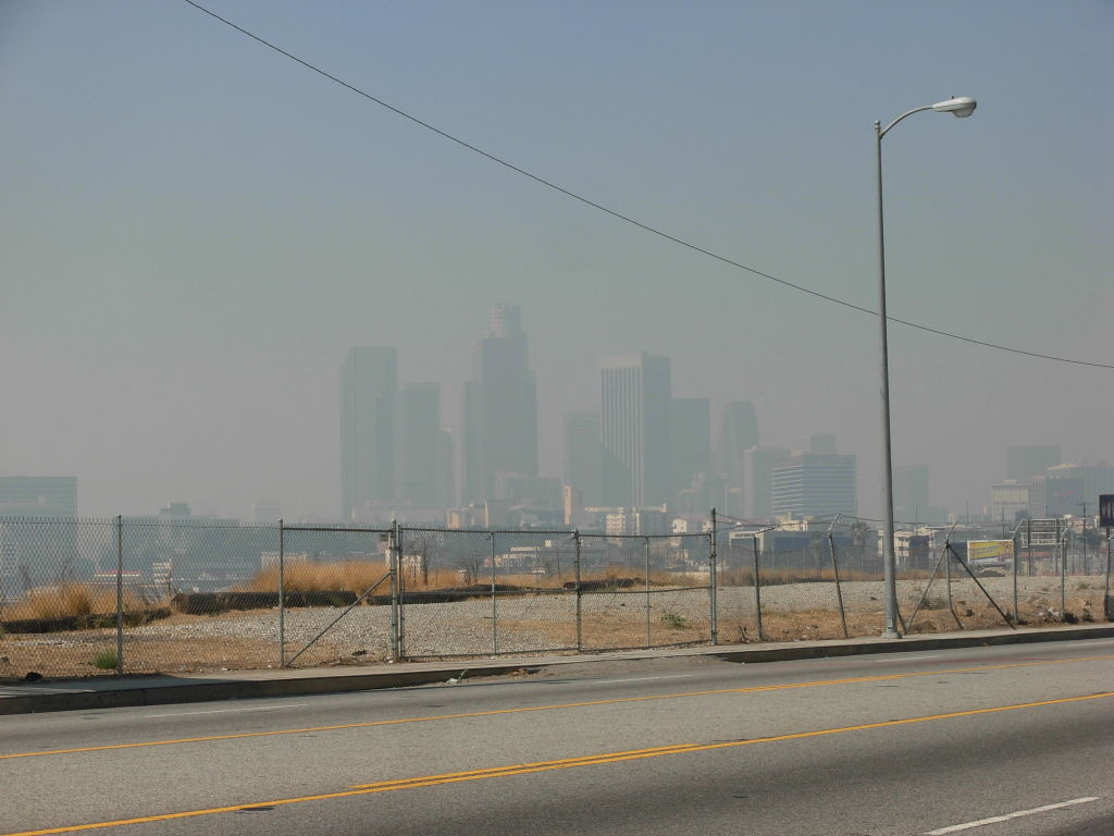 The downtown skyline from North Broadway, just outside of Chinatown, at about 10:30 Wednesday morning.