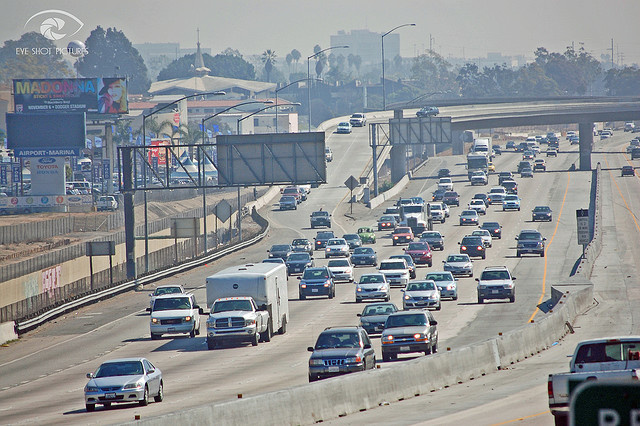 The often congested 405 freeway. You might want to think about carpooling to conserve gas, considering Los Angeles holds highest costs for gas per gallon nationwide.