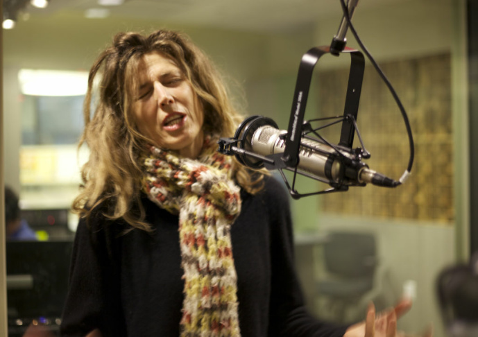 Sophie B. Hawkins performs a song live during KPCC's Take Two program.