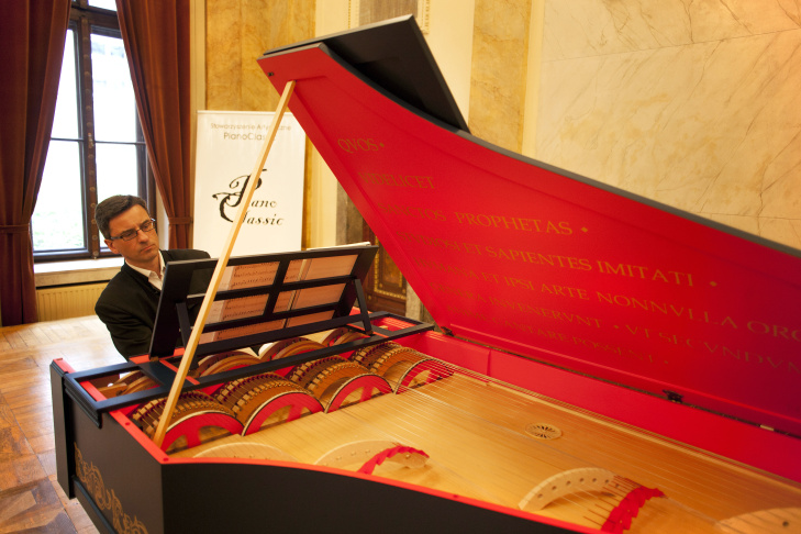 Polish concert pianist, Slawomir Zubrzycki, presents an extremely rare Viola Organista, based on a late 15th-century design by Leonardo da Vinci on October 18, 2013 in Krakow. The instrument which was unveiled this month was built over the last three years by him.