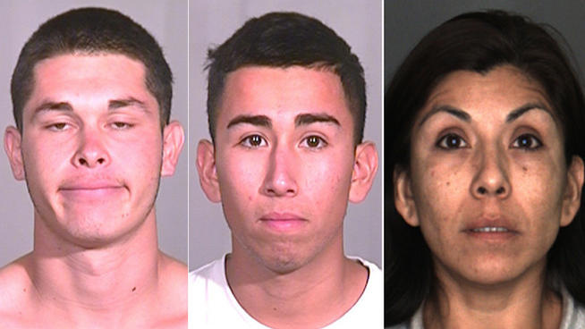 Suspects Richard Gonzalez (L), Edward Morales (M) and Alma Quezada (R)