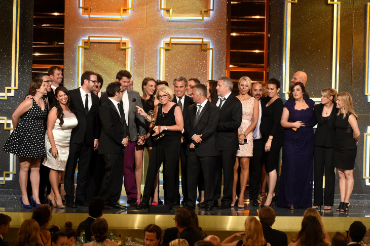 Producers and crew accept Outstanding Talk Show - Entertainment for 'The Ellen DeGeneres Show' onstage during The 41st Annual Daytime Emmy Awards at The Beverly Hilton Hotel on June 22, 2014 in Beverly Hills, California.