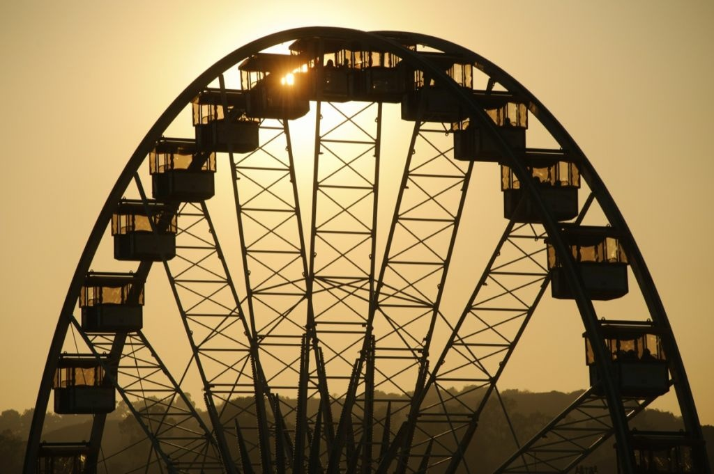 The L.A. County Fair Ferris wheel at sunset.
