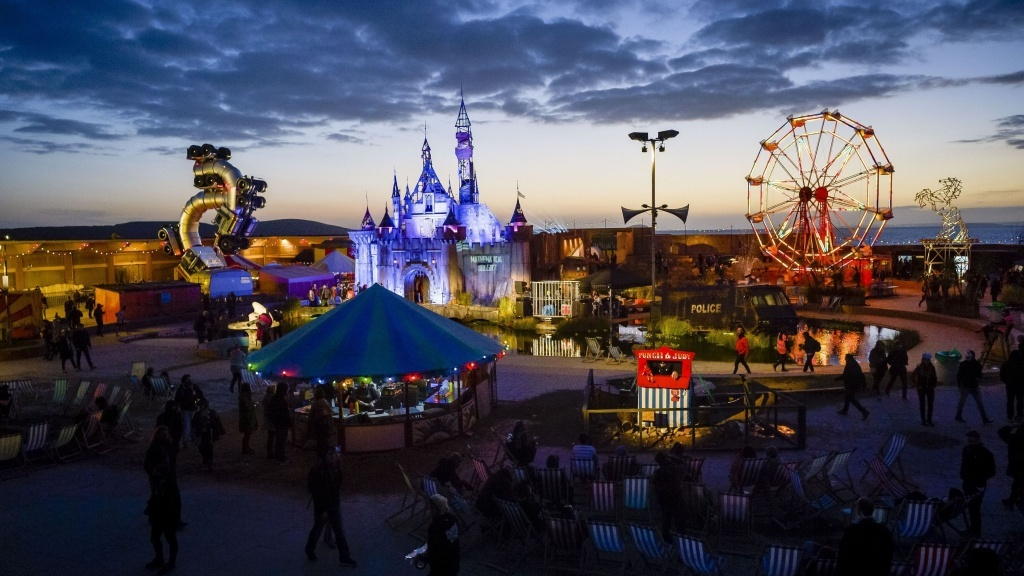 The sun sets on Banksy's 'Dismaland' in Weston-super-Mare England. The art exhibit, billed as a