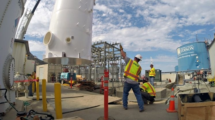 Workers at the new desalination plant on Catalina Island.