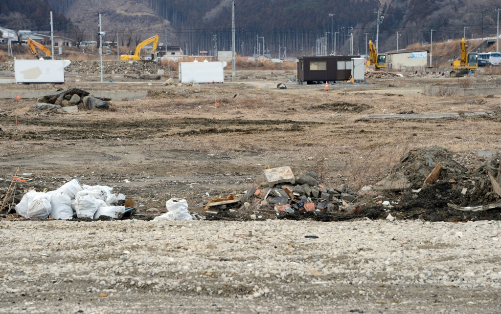 This picture taken on February 20, 2013 shows the same area where AFP photographer Fred Dufour took a photo on March 18, 2011 showing debris and damage in the tsunami hit area of Minamisanriku, Japan.  U.S. officials said Friday that a fishing boat that washed ashore in Northern California is the first debris to reach the state that's been confirmed as having come from the Japanese tsunami. (Photo credit  TOSHIFUMI KITAMURA/AFP/Getty Images)