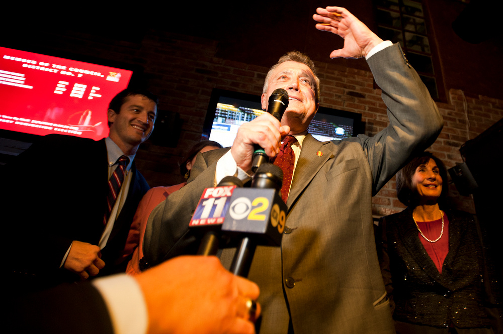 Los Angeles City Attorney Carmen Trutanich greets the crowd during primary election celebration at Rocco's Tavern in Studio City on primary election night in March.