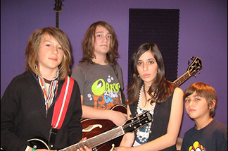 Silverlake rockers Indio Downey (13), Jasper McMahon (13), Lia Avraham (12), and Cash Mathieu (10). Their band, Jack Bambi, is named for a dog allegedly bigger than drummer Cash.