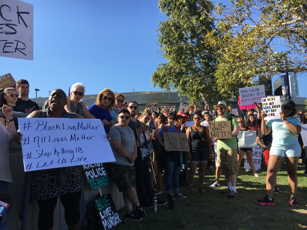Several hundred people gathered at Pan Pacific Park in LA to discuss the recent police shootings and shootings of Dallas police.