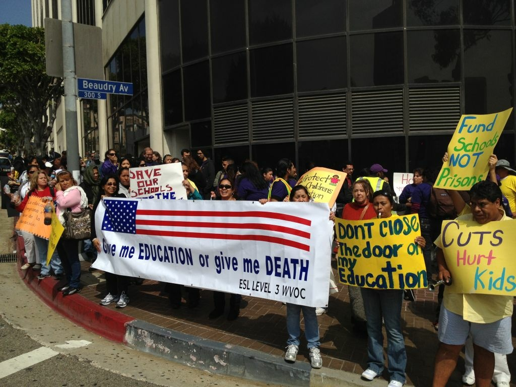Hundreds of protesters gathered outside L.A. Unified headquarters downtown as the board met inside to discuss the district's dire budget picture in March.