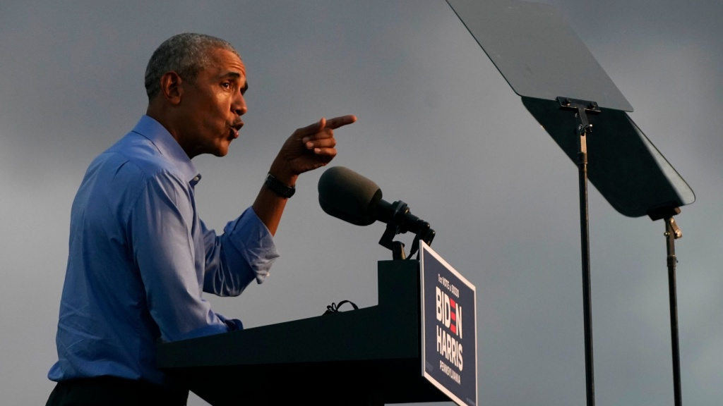 Former President Barack Obama addresses Joe Biden-Kamala Harris supporters during a drive-in rally Wednesday in Philadelphia.