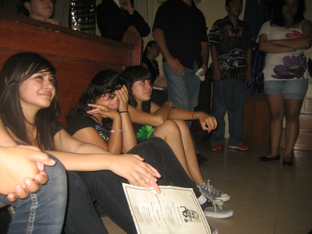Former students of Rigoberto Ruela (from left): Karla Gonzalez, Alicia Hernandez, and Perla Cruz