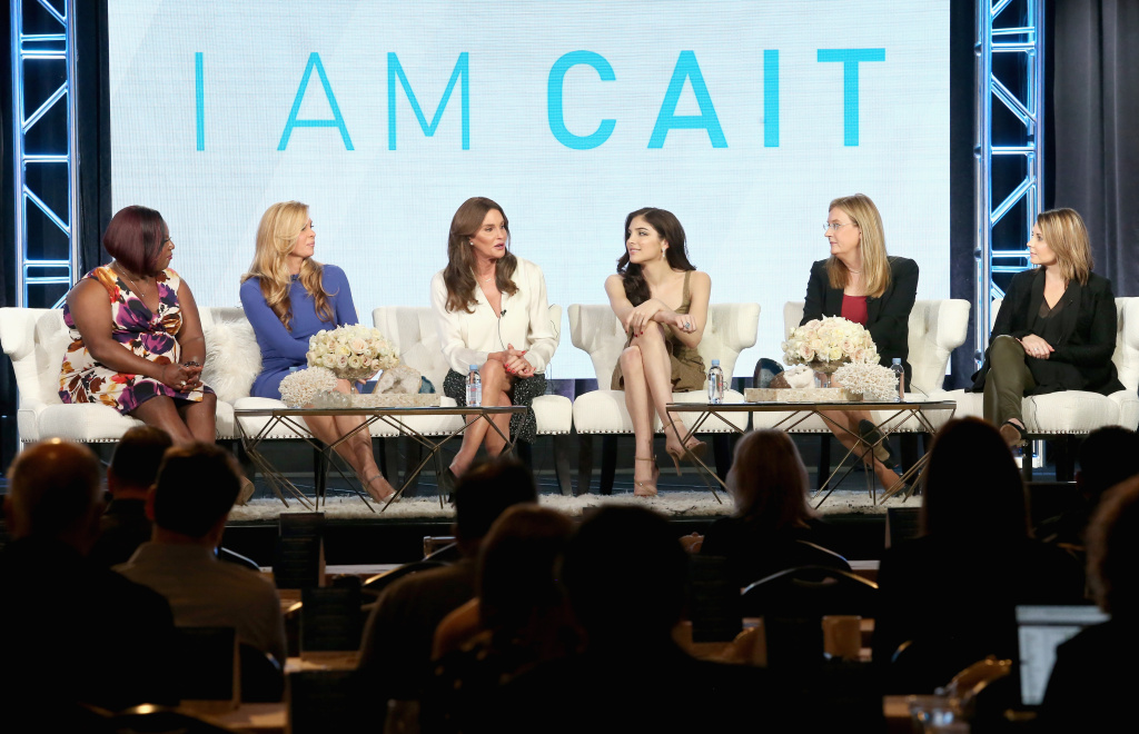 (L-R) Tv personalities Chandi Moore, Candis Cayne, executive producer/tv personality Caitlyn Jenner, tv personalities Ella Giselle, Jennifer Finney Boylan and executive producer Andrea Metz speak onstage during the 'I Am Cait' panel discussion at the NBCUniversal portion of the 2016 Winter TCA Tour.