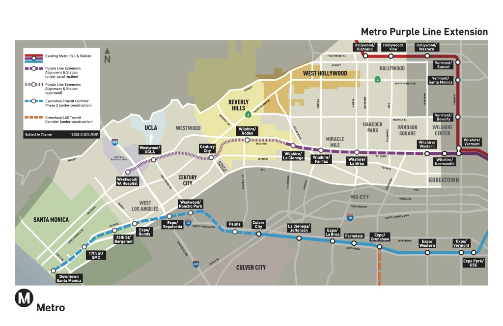 A Metro map shows the Purple Line extension, which will connect the subway to Beverly Hills.