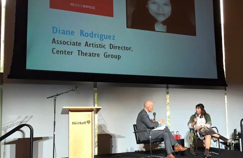 Diane Rodriguez, associate artistic director of Center Theatre Group and a White House appointee to the National Council on the Arts, interviewed by The Frame's John Horn at KPCC's 2016 Leadership Circle Brunch.