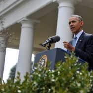 US President Barack Obama gestures while making a statement at the White House in Washington, DC, on April 2, 2015 after a deal was reached on Iran's nuclear program. Iran and world powers agreed on the framework of a potentially historic deal aimed at curbing Tehran's nuclear drive after marathon talks in Switzerland.