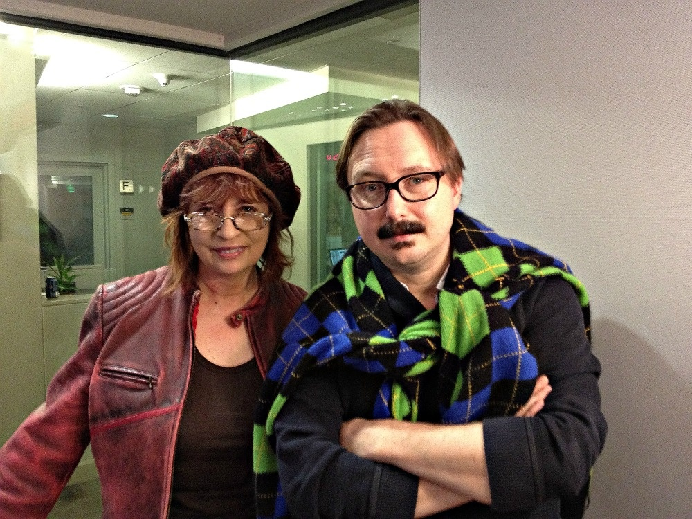 Patt Morrison with author, actor and comedian John Hodgman in Studio B, November 4, 2011 at the Mohn Broadcast Center, Pasadena, California.
