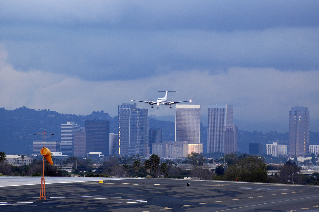 A plane flies into Santa Monica Airport. Santa Monica city council voted in mid 2016 to shutter the airport for good in 2018.