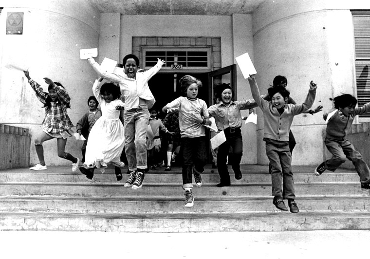 We know how they feel! Hobart Boulevard Elementary School 4th graders on the last day of school in an undated photo from the LA Public Library online archive.