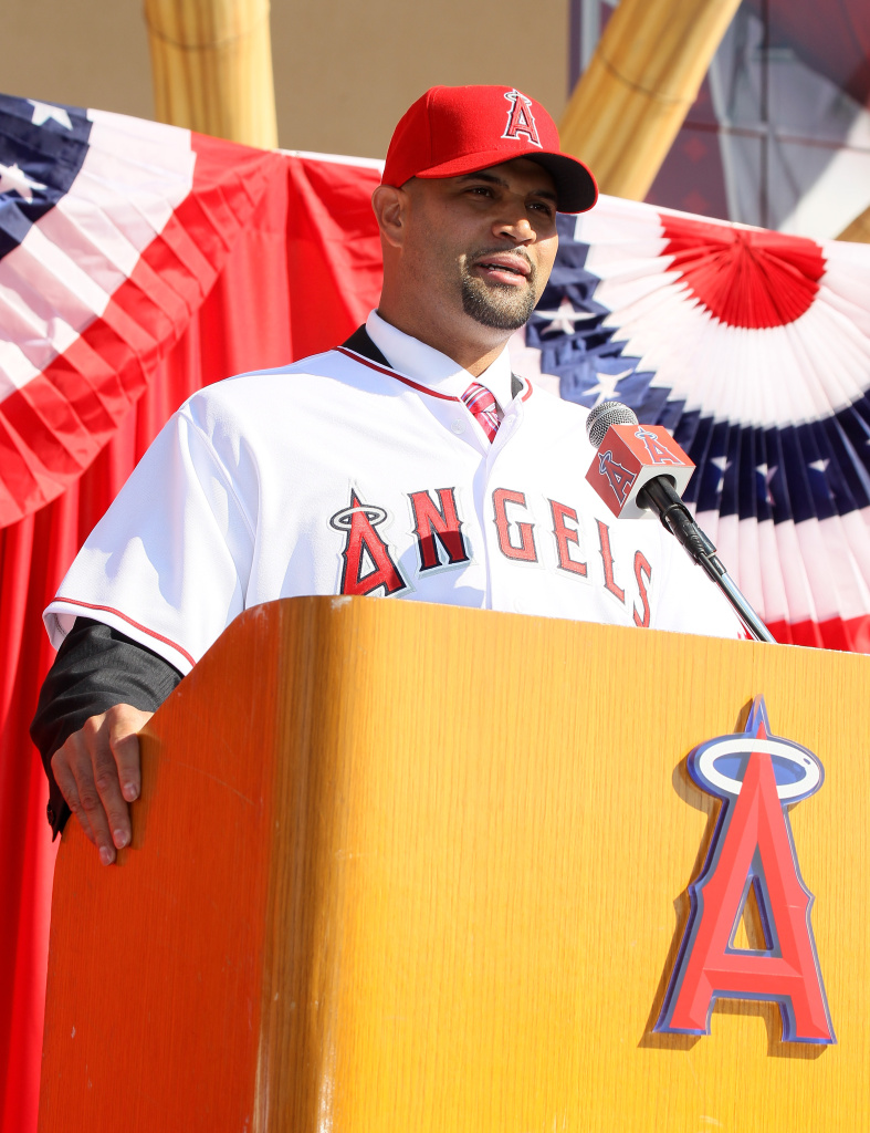 Albert Pujols speaks at a public press conference introducing him as a member of the Angels.