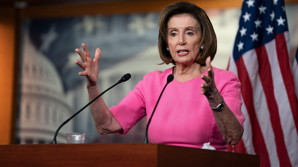House Speaker Nancy Pelosi speaks with reporters during her weekly press conference at the Capitol Wednesday.