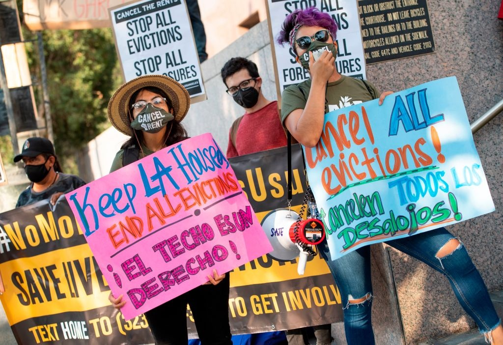 Renters and housing advocates attend a protest to cancel rent and avoid evictions in front of the court house amid Coronavirus pandemic on August 21, 2020, in Los Angeles, California.