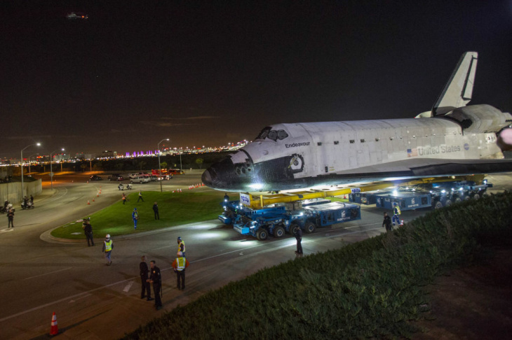 The space shuttle Endeavour leaves Los Angeles International Airport in the early morning hours of October 11 on its way to the California Science Center. The 12-mile journey through the streets of south Los Angeles took three days.