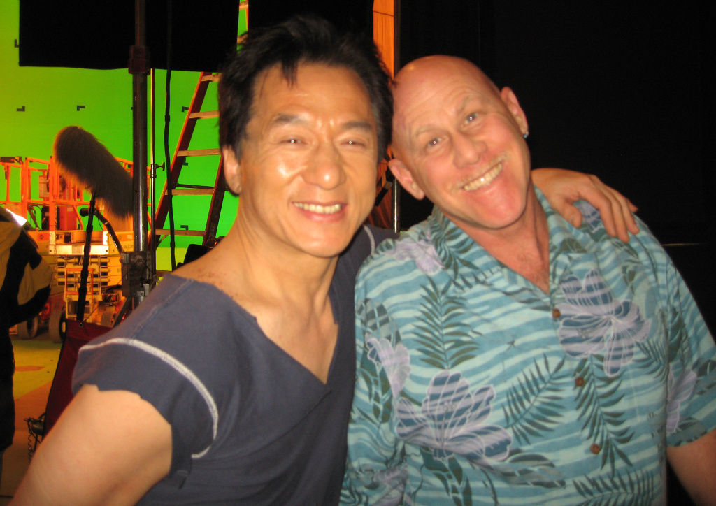 Set medic Tony Whitmore with Jackie Chan.