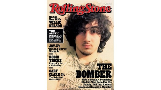 Rolling Stone's cover showing Boston bomber Dzohkhar Tsarnaev on its cover.