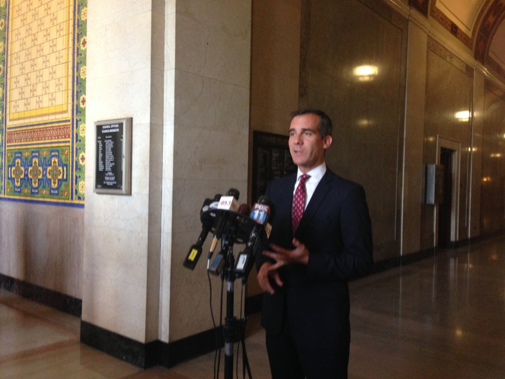 Mayor Eric Garcetti told reporters Monday that a poorly engineered joint from the 1950s was to blame for last week's water main burst and subsequent flood of UCLA.