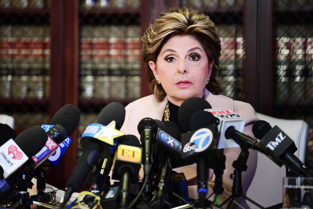 LOS ANGELES, CA - OCTOBER 10:  Attorney Gloria Allred and her client Louisette Geiss (not pictured) speak during a press conference about her client's allegations of sexual harassment by Harvey Weinstein at Allred's office October 10, 2017 in Los Angeles, California.  Weinstein has been accused of sexual harassment by multiple women.  (Photo by Emma McIntyre/Getty Images)