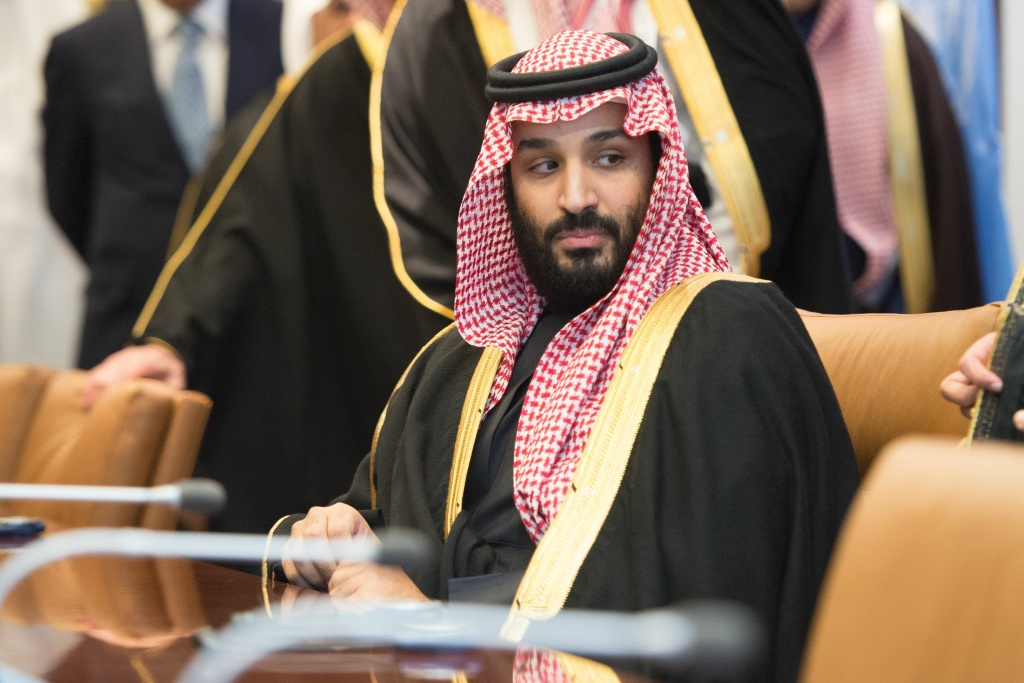 File: Prince Mohammed bin Salman Al Saud, Crown Prince, Kingdom of Saudi Arabia,  attends a meeting at the United Nations on March 27, 2018 in New York.