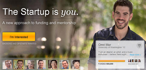 At Upstart, donors invest in students' careers based on an algorithm that determines their future success. Above is Omri Mor, a University of Washington graduate.