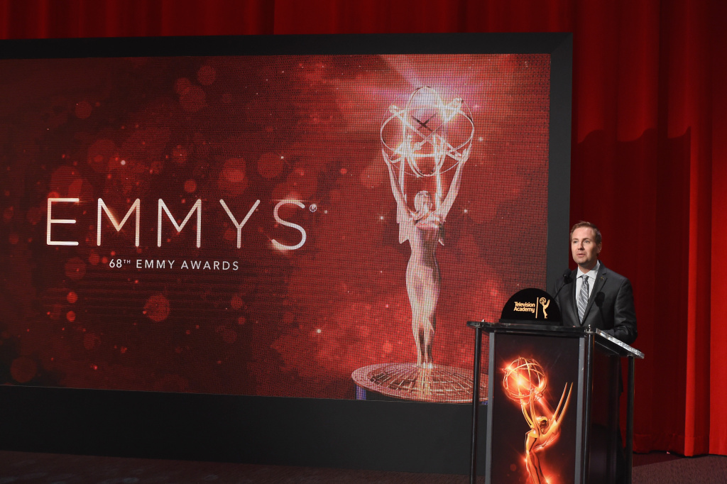 Television Academy President and COO Maury McIntyre speaks before the 68th Emmy Awards nominations announcement at the Saban Media Center on July 14, 2016 in North Hollywood, California.